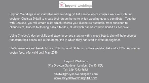 Wedding Gift List Battersea : Beyond Weddings bespoke gift list service in the press, online wedding ...